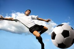 Acrobatic. Young soccer player in acrobatic Stock Photos