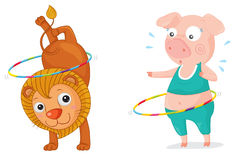 Acrobatic. Illustration of an acrobatic lion and pig Stock Image