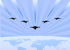 Acrobatic air show exhibition. Vector illustration of acrobatic air show exhibition, flying in the sky over the earth, web header for army and air force Stock Photo
