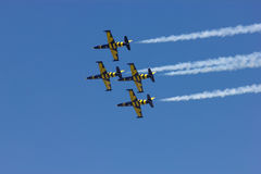 Acrobatic airplanes Baltic Bees. The Baltic Bees Team at show BIAS 2014 Roumania Stock Photography