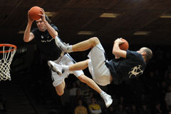 Acrobatic basketball show Stock Images