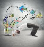 Acrobatic businessman. Concept of acrobatic business with man and laptop royalty free stock photos