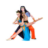Acrobatic dance couple perform stunt Royalty Free Stock Images