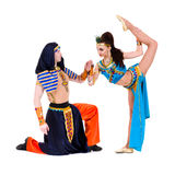 Acrobatic dance couple perform stunt Stock Photo