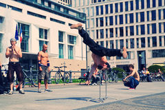Acrobatic dancers in Pariser Platz Royalty Free Stock Image
