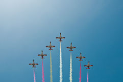 Acrobatic Flight Squadron. Of the Spanish Army in Malaga, Spain Royalty Free Stock Image