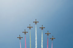Acrobatic formation - Planes over Malaga Royalty Free Stock Photos