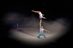 Acrobatic gymnastics. Image of the two acrobats is benefis Jordan Jovtchev the gymnast participate in 6 Olympics Stock Images