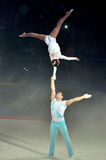 Acrobatic gymnastics 2012. Image of the two acrobats is benefis Jordan Jovtchev the gymnast participate in 6 Olympics Royalty Free Stock Photography