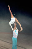 Acrobatic. Image of the two acrobats is benefis Jordan Jovtchev the gymnast participate in 6 Olympics Stock Photos