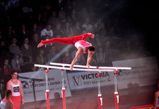 Acrobatic. Image of the two acrobats is benefis Jordan Jovtchev the gymnast participate in 6 Olympics Stock Image