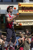 Acrobatic juggler in the street. Royalty Free Stock Images