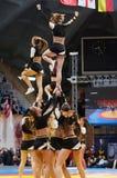 Acrobatic jump show cheerleaders Royalty Free Stock Images
