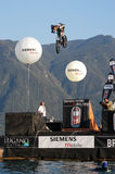 Acrobatic jumps competition with bikes at Lugano Royalty Free Stock Images