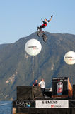 Acrobatic jumps competition with bikes at Lugano Stock Images