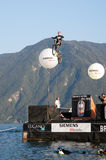 Acrobatic jumps competition with bikes at Lugano Stock Photography