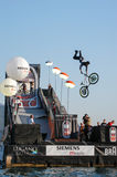 Acrobatic jumps competition with bikes at Lugano Stock Photo
