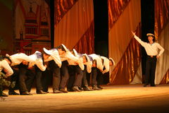 Acrobatic old traditional national Russian sailor dance Yablochko Stock Photos