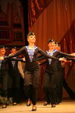 Acrobatic old traditional national Russian sailor dance Yablochko Royalty Free Stock Photo
