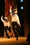 Acrobatic old traditional national Russian sailor dance Yablochko Royalty Free Stock Photography