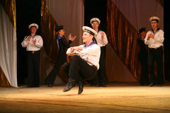 Acrobatic old traditional national Russian sailor dance Yablochko Stock Images