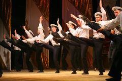 Acrobatic old traditional national Russian sailor dance Yablochko Royalty Free Stock Photos