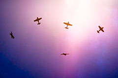 Acrobatic planes split formation up in the sky Royalty Free Stock Photo