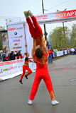 Acrobatic rock'n'roll show. On October 12, 2014 in Sofia was held 31 International Marathon. The race started a total of 2,200 people, but at shorter distances Royalty Free Stock Images