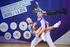 Acrobatic Rock N Roll, Zagreb. ZAGREB,CROATIA - JUNE 4,2016 : Semi finals of World Masters Rock n Roll Main Class in Zagreb, Croatia. Performance of dancing stock photography