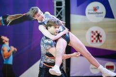 Acrobatic Rock N Roll, Zagreb. ZAGREB, CROATIA - JUNE 4, 2016 : Semi finals of World Masters Rock n Roll Main Class in Zagreb, Croatia. Performance of dancing stock photo