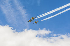 Acrobatic Stunt Planes RUS of Aero L-159 ALCA on Air During Aviation Sport Event Dedicated to the 80th Anniversary of DOSAAF Stock Photography