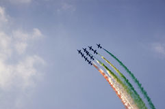 The acrobatic team frecce tricolori Stock Photography