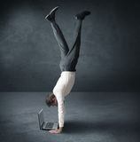 Acrobatic work. Of a buinessman Stock Images