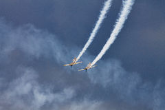 Acrobatic YAK-52 planes at BIAS 2015 Royalty Free Stock Image