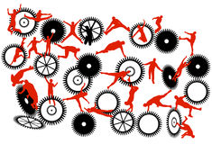 Acrobats. Illustration of acrobats, red, black Stock Images
