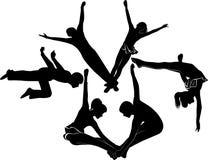 Acrobats gymnasts. Athlete agility isolated activity Stock Photos