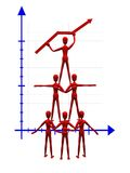 Acrobats holding a graph. 3d illustration of acrobats holding a graph. A clipping path is included in the file for easy editing Stock Image