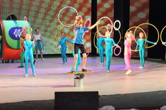 Acrobats and jugglers children Royalty Free Stock Image