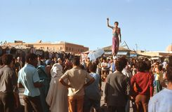 1974. Morocco. Acrobats in Marrakesh. Stock Image