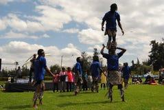 Acrobats  in Nairobi Kenya. Acrobatic show, men women and  Children having fun in Nairobi Kenya during organized events such as social gatherings, corporate Royalty Free Stock Photos