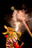 Acrobats are performing a lion and dragon dance Royalty Free Stock Photography