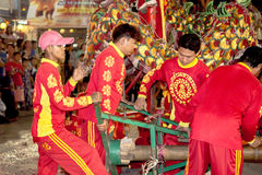 Acrobats are performing a lion and dragon dance Royalty Free Stock Photo
