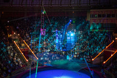 Acrobats on a rope on Arena of the Great Moscow State Circus Royalty Free Stock Photography