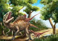 Acrocanthosaurus and Deinonychus. Two deinonychuses were attacking an a crocanthosaurus in the wood Royalty Free Stock Photography