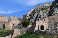 Acrocorinth堡垒,古老科林斯湾上城  免版税库存照片