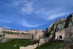 Acrocorinth堡垒,古老科林斯湾上城  库存图片