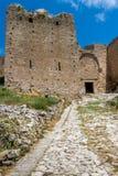 Acrocorinth,其中一座最著名的古老城堡在希腊 库存照片