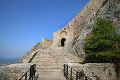 Acrocorinth akropolen av forntida Corinth Fotografering för Bildbyråer