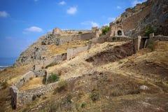 Acrocorinth-Akropolis von altem Korinth Lizenzfreies Stockfoto