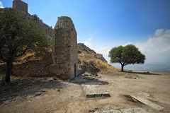 Acrocorinth-Akropolis von altem Korinth Lizenzfreie Stockfotos